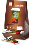 Starbucks VIA Ready Brew Coffee, available in House Blend, Colombia, Italian, and Italian Decaf roasts.